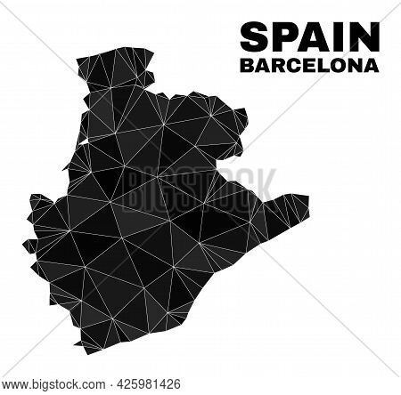 Low-poly Barcelona Province Map. Polygonal Barcelona Province Map Vector Is Filled From Random Trian
