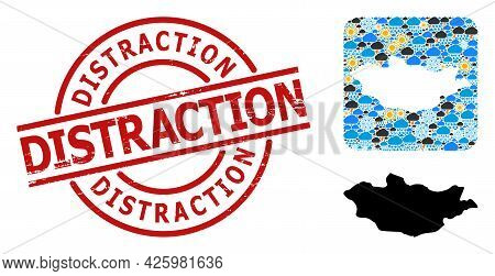 Weather Collage Map Of Mongolia, And Scratched Red Round Distraction Stamp Seal. Geographic Vector C