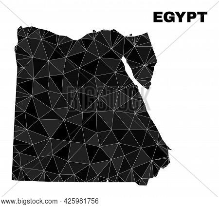 Lowpoly Egypt Map. Polygonal Egypt Map Vector Designed With Scattered Triangles. Triangulated Egypt