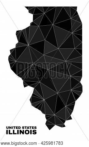 Lowpoly Illinois State Map. Polygonal Illinois State Map Vector Is Filled With Randomized Triangles.