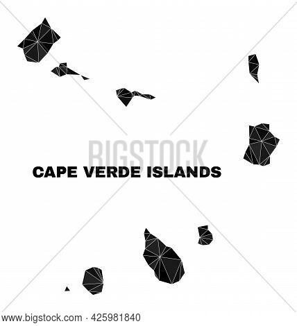 Lowpoly Cape Verde Islands Map. Polygonal Cape Verde Islands Map Vector Is Filled From Random Triang