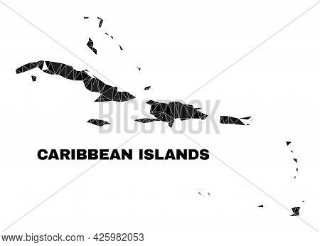 Low-poly Caribbean Islands Map. Polygonal Caribbean Islands Map Vector Constructed From Randomized T