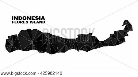 Lowpoly Flores Island Of Indonesia Map. Polygonal Flores Island Of Indonesia Map Vector Is Construct