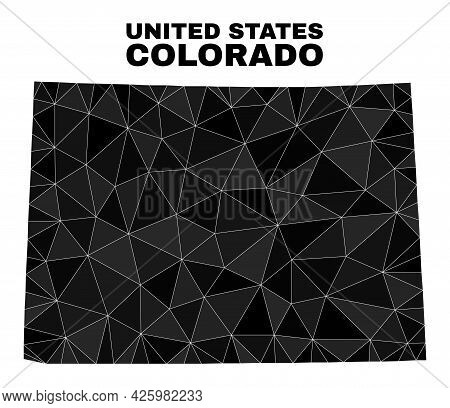 Low-poly Colorado State Map. Polygonal Colorado State Map Vector Is Constructed From Random Triangle