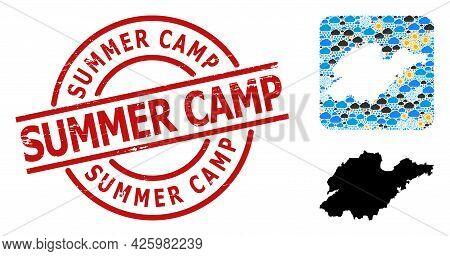 Climate Mosaic Map Of Shandong Province, And Rubber Red Round Summer Camp Seal. Geographic Vector Mo