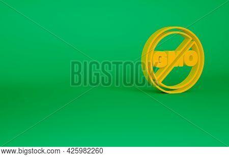 Orange No Gmo Icon Isolated On Green Background. Genetically Modified Organism Acronym. Dna Food Mod