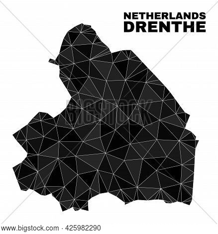Low-poly Drenthe Province Map. Polygonal Drenthe Province Map Vector Filled Of Scattered Triangles.