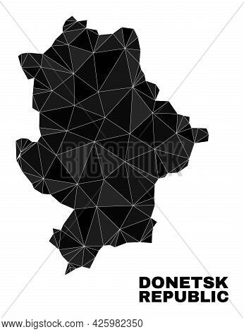 Low-poly Donetsk Republic Map. Polygonal Donetsk Republic Map Vector Is Filled With Scattered Triang