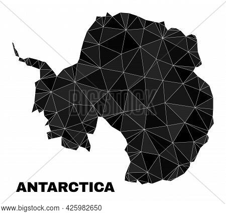 Low-poly Antarctica Continent Map. Polygonal Antarctica Continent Map Vector Designed With Scattered