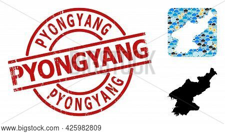 Climate Collage Map Of North Korea, And Scratched Red Round Pyongyang Stamp. Geographic Vector Colla