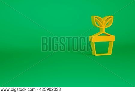 Orange Plant In Pot Icon Isolated On Green Background. Plant Growing In A Pot. Potted Plant Sign. Mi