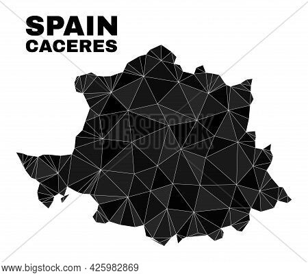 Lowpoly Caceres Province Map. Polygonal Caceres Province Map Vector Is Filled Of Chaotic Triangles.