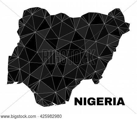 Lowpoly Nigeria Map. Polygonal Nigeria Map Vector Is Designed Of Random Triangles. Triangulated Nige