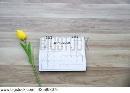 Top View Of Calendar Desk Place On Table. Desktop Calender For Planner To Plan Agenda, Timetable, Ap