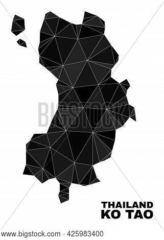 Low-poly Ko Tao Map. Polygonal Ko Tao Map Vector Is Constructed From Random Triangles. Triangulated