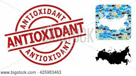 Climate Mosaic Map Of Russia, And Scratched Red Round Antioxidant Stamp Seal. Geographic Vector Coll