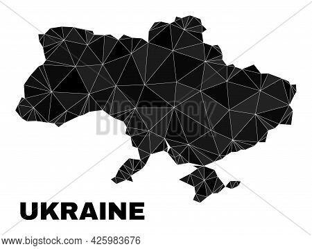Low-poly Ukraine Map. Polygonal Ukraine Map Vector Is Constructed With Chaotic Triangles. Triangulat