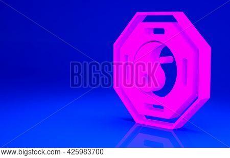 Pink Yin Yang Symbol Of Harmony And Balance Icon Isolated On Blue Background. Minimalism Concept. 3d
