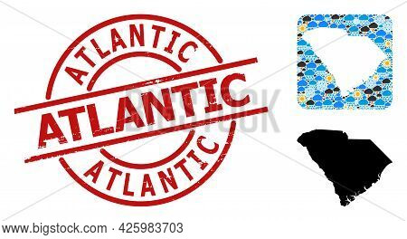 Weather Mosaic Map Of South Carolina State, And Grunge Red Round Atlantic Stamp Seal. Geographic Vec