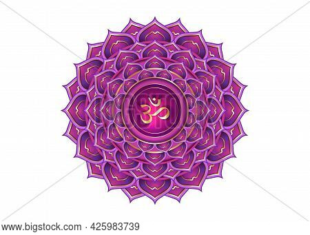 Seventh Chakra Sahasrara Logo Template. Crown Chakra Symbol, Purple Lotus Sacral Sign Meditation, Yo