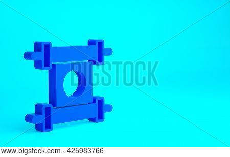 Blue Decree, Paper, Parchment, Scroll Icon Icon Isolated On Blue Background. Chinese Scroll. Minimal