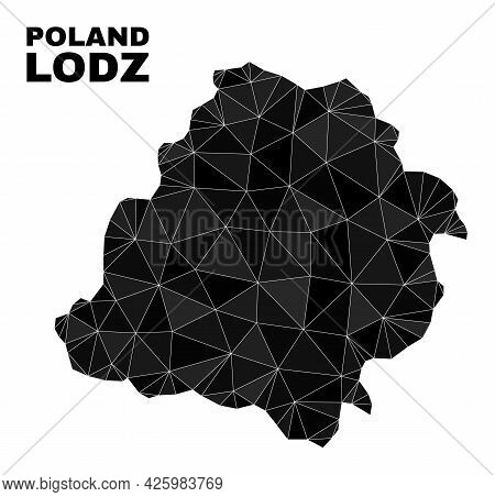 Lowpoly Lodz Voivodeship Map. Polygonal Lodz Voivodeship Map Vector Designed From Chaotic Triangles.