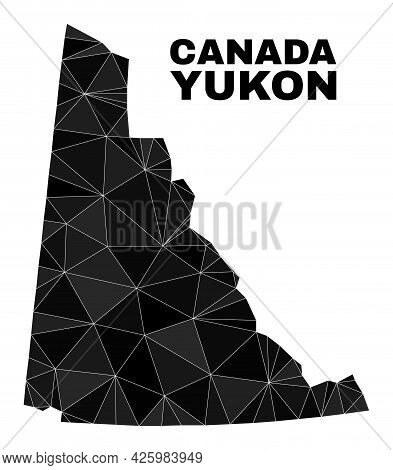 Low-poly Yukon Province Map. Polygonal Yukon Province Map Vector Is Combined With Scattered Triangle