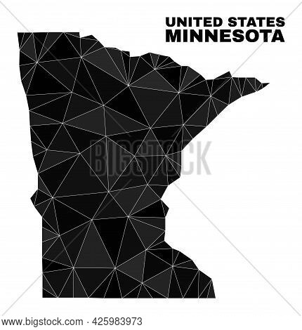 Low-poly Minnesota State Map. Polygonal Minnesota State Map Vector Filled Of Random Triangles. Trian