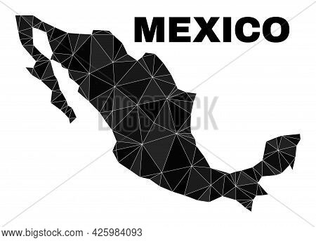 Low-poly Mexico Map. Polygonal Mexico Map Vector Is Combined Of Scattered Triangles. Triangulated Me