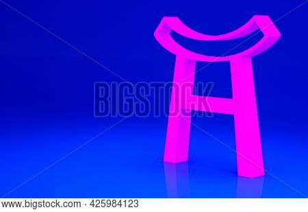 Pink Japan Gate Icon Isolated On Blue Background. Torii Gate Sign. Japanese Traditional Classic Gate