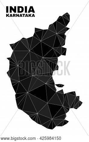 Low-poly Karnataka State Map. Polygonal Karnataka State Map Vector Filled From Random Triangles. Tri