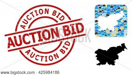 Climate Mosaic Map Of Slovenia, And Distress Red Round Auction Bid Stamp Seal. Geographic Vector Com