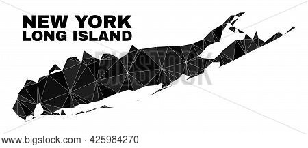 Low-poly Long Island Map. Polygonal Long Island Map Vector Combined Of Scattered Triangles. Triangul