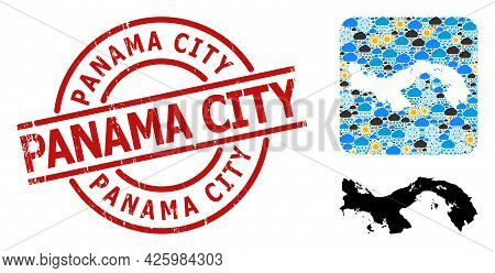 Climate Collage Map Of Panama, And Scratched Red Round Panama City Stamp Seal. Geographic Vector Col