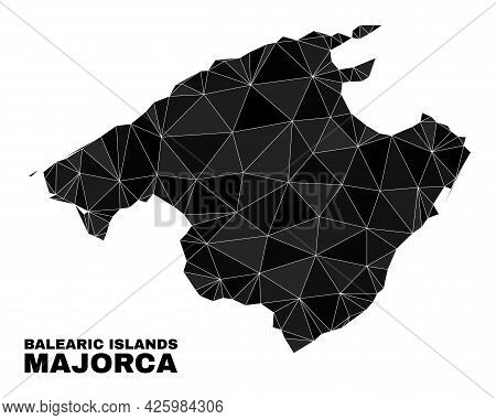 Lowpoly Majorca Map. Polygonal Majorca Map Vector Constructed With Chaotic Triangles. Triangulated M
