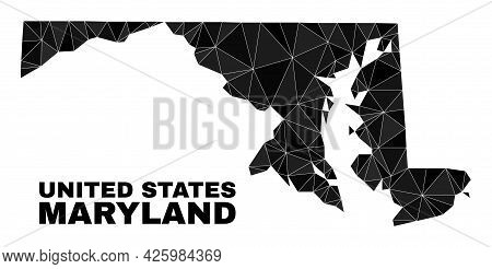 Low-poly Maryland State Map. Polygonal Maryland State Map Vector Is Filled With Chaotic Triangles. T