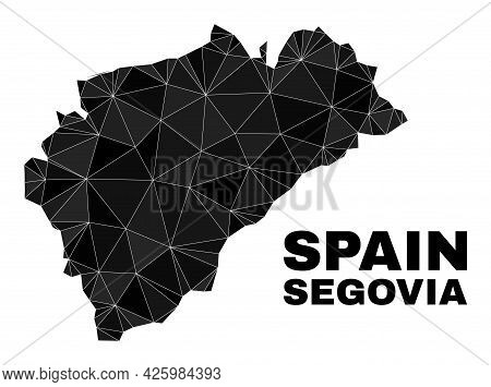 Lowpoly Segovia Province Map. Polygonal Segovia Province Map Vector Designed From Scattered Triangle