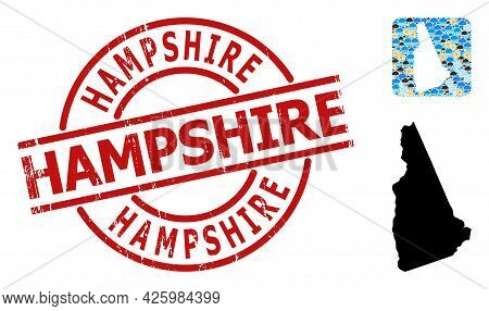 Climate Mosaic Map Of New Hampshire State, And Scratched Red Round Hampshire Badge. Geographic Vecto