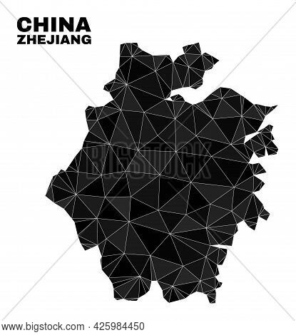 Lowpoly Zhejiang Province Map. Polygonal Zhejiang Province Map Vector Is Constructed From Scattered