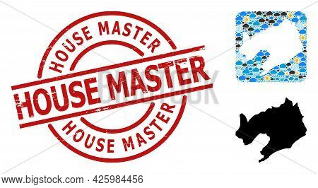 Weather Mosaic Map Of Liaoning Province, And Distress Red Round House Master Stamp. Geographic Vecto
