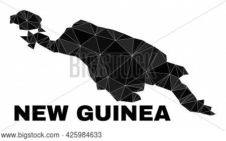 Low-poly New Guinea Map. Polygonal New Guinea Map Vector Is Designed From Scattered Triangles. Trian