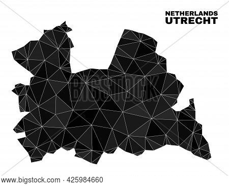 Low-poly Utrecht Province Map. Polygonal Utrecht Province Map Vector Constructed With Chaotic Triang