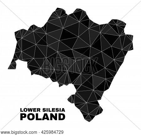 Low-poly Lower Silesia Province Map. Polygonal Lower Silesia Province Map Vector Filled Of Random Tr