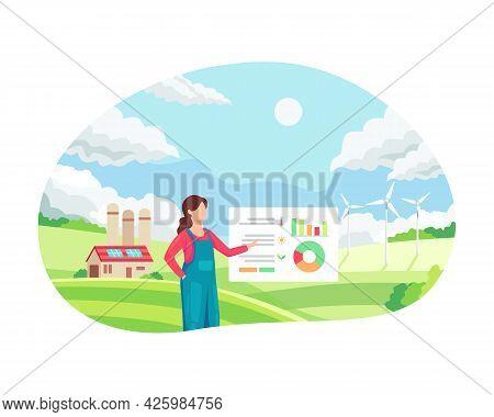 Female Farmer Managing Her Industrial Farm