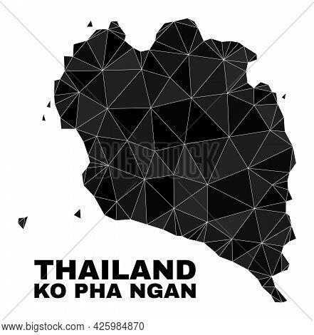 Low-poly Ko Pha Ngan Map. Polygonal Ko Pha Ngan Map Vector Combined Of Chaotic Triangles. Triangulat