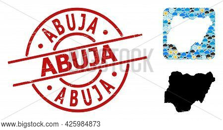 Weather Mosaic Map Of Nigeria, And Scratched Red Round Abuja Seal. Geographic Vector Composition Map