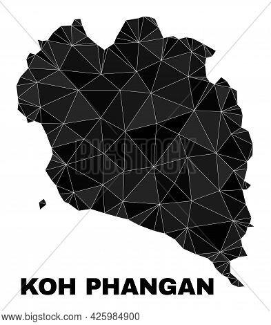Low-poly Koh Phangan Map. Polygonal Koh Phangan Map Vector Is Constructed Of Random Triangles. Trian