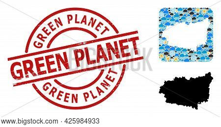 Weather Mosaic Map Of Leon Province, And Textured Red Round Green Planet Seal. Geographic Vector Mos