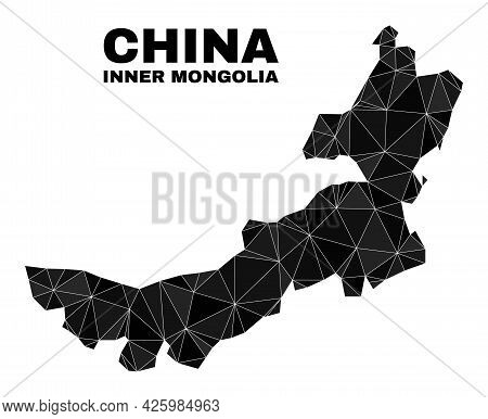 Low-poly Inner Mongolia Map. Polygonal Inner Mongolia Map Vector Is Filled Of Scattered Triangles. T