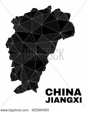 Lowpoly Jiangxi Province Map. Polygonal Jiangxi Province Map Vector Filled From Randomized Triangles